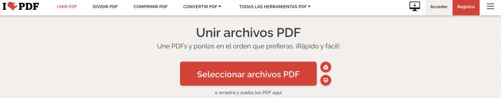 unir pdf con i love pdf