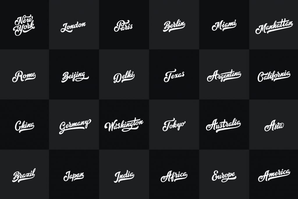 letras de paises en lettering