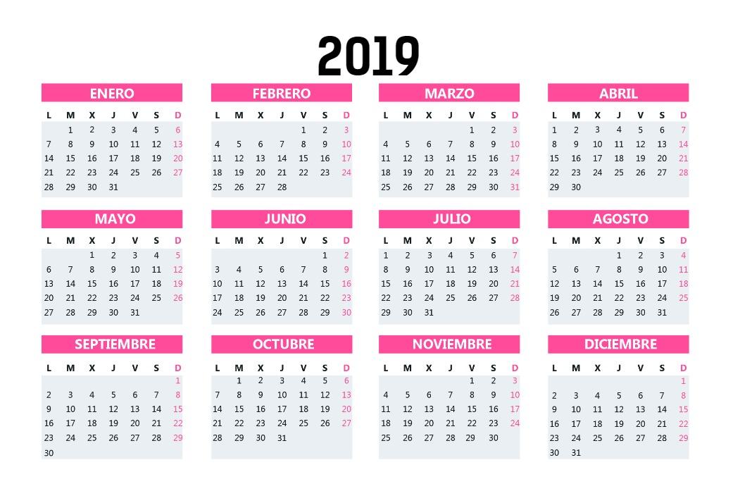 Calendario Bolsillo Rosa