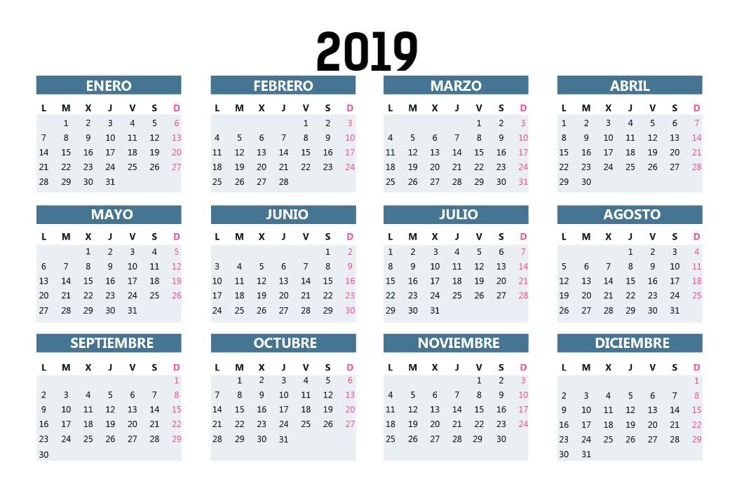 Calendario Bolsillo Azul oscuro