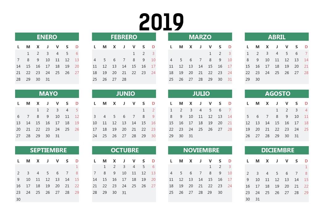 Calendario Bolsillo Verde