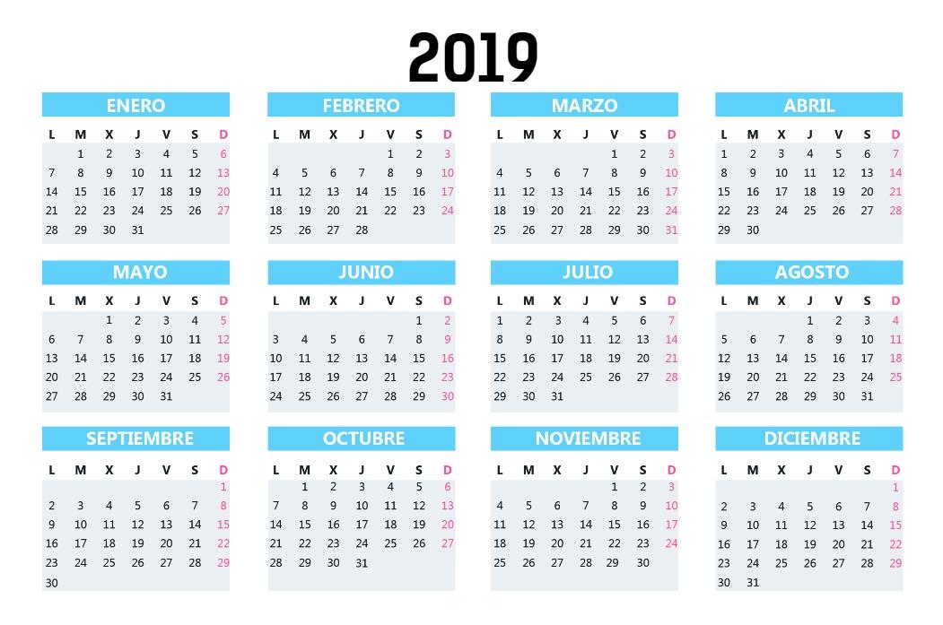Calendario Bolsillo Azul