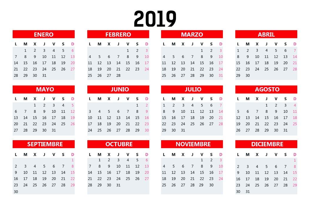 Calendario Bolsillo rojo