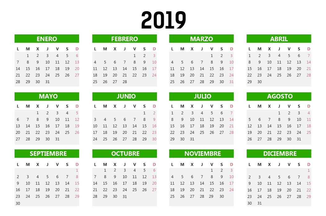 Calendario Bolsillo verde hierba