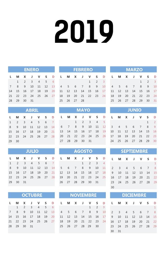 Calendario Bolsillo vertical_azul