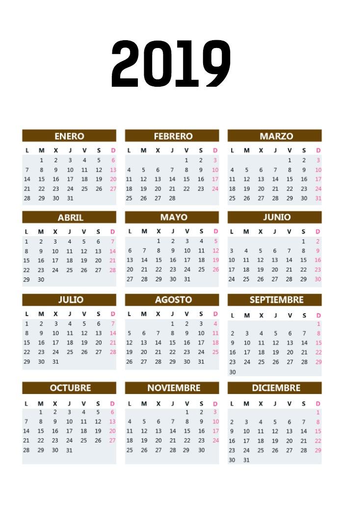 Calendario Bolsillo vertical_marron
