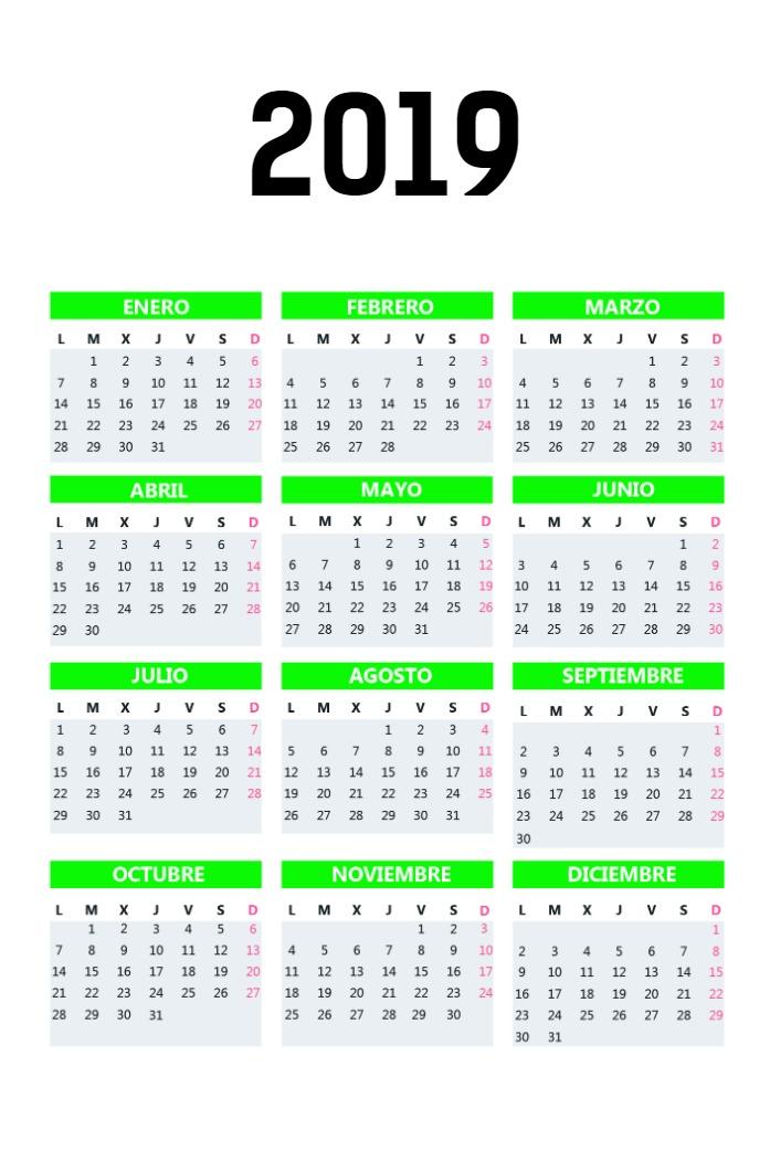 Calendario Bolsillo vertical_verde