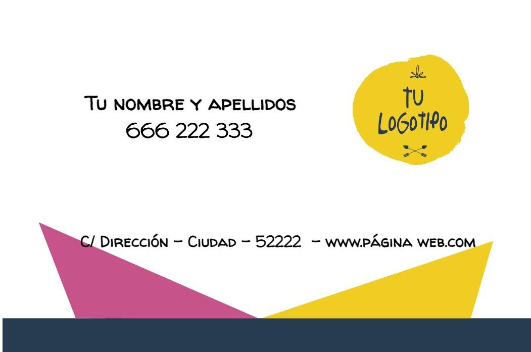 Tarjetas visita blanco 85x55 horizontal fucsia & yellow