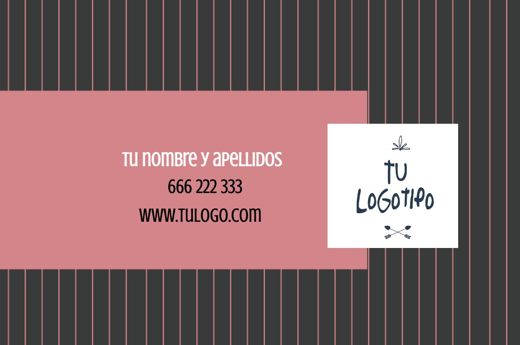 Tarjetas visita blanco 85x55 horizontal fondo negro y rosa